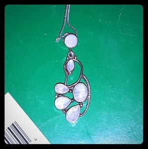 Custom Sterling Silver Moonstone Pendant Necklace